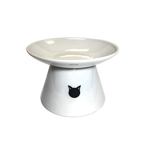 (Binkies Pet Supply Elevated Cat Bowl - Raised Porcelain Dish - Perfect for Wet and Dry Cat Food (White))