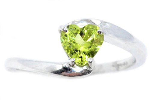 Elizabeth Jewelry Simulated Peridot Heart Ring .925 Sterling Silver Rhodium Finish