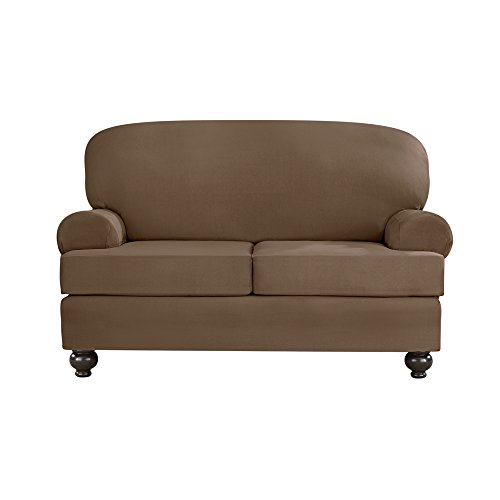 Sure Fit Designer Suede Convertible T-Cushion Loveseat Furniture Cover - Taupe (SF44382) (Designer Cover Cushion)
