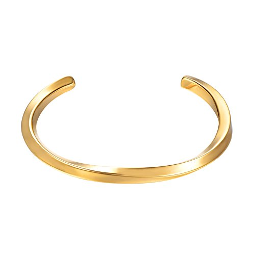 18k Gold Plated Cuff - U7 Polished Cuff Bracelet 18K Gold Plated Simple Twisted Line Design Classic Bangle for Women Men
