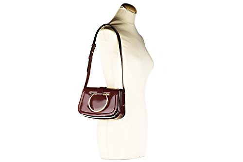 Salvatore Ferragamo borsa donna a spalla shopping in pelle nuova sabine bordeaux