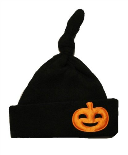 Jacqui's Unisex Baby Black Knotted Halloween Hat with Pumpkin, Preemie