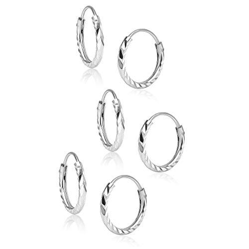 Big Apple Hoops - Juego de aretes de plata de ley de 10 mm con corte de diamante, 1, 2 o 3 pares en 3 colores