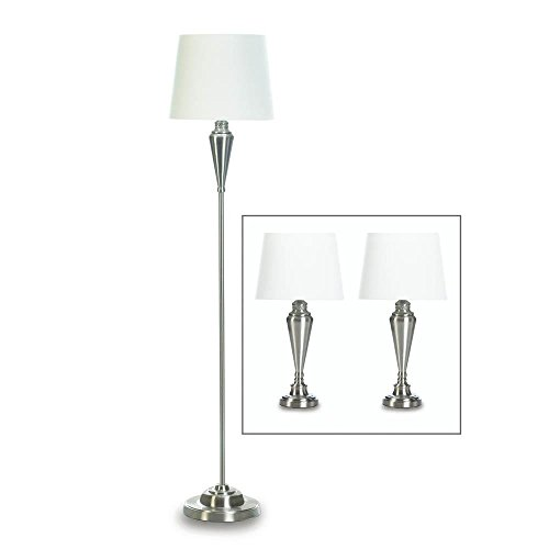 Lamp Set, Bright Silver Bed Table Lamps Sets For Living Room Floor Lamps Metal by Gallery of Light