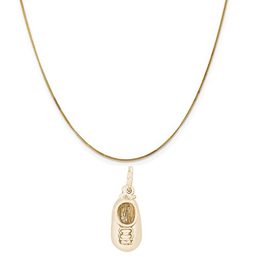 Rembrandt Charms 14K Yellow Gold Baby Shoes Charm on a 14K Yellow Gold Curb Chain Necklace, 20