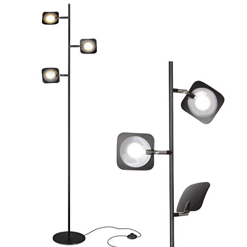 Brightech Tree Spotlight LED Floor Lamp - Very Bright Reading, Craft and Makeup 3 Light Standing Pole - Modern Dimmable & Adjustable Panels, Minimal Space Use - - Lamp Floor Pole Ceiling