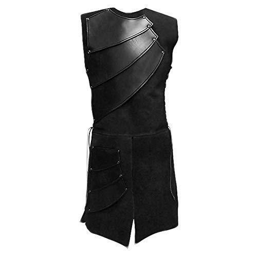 Mens Medieval Victorian Waistcoat Vest Renaissance Warrior Waistcoat Sleeveless Vests Black