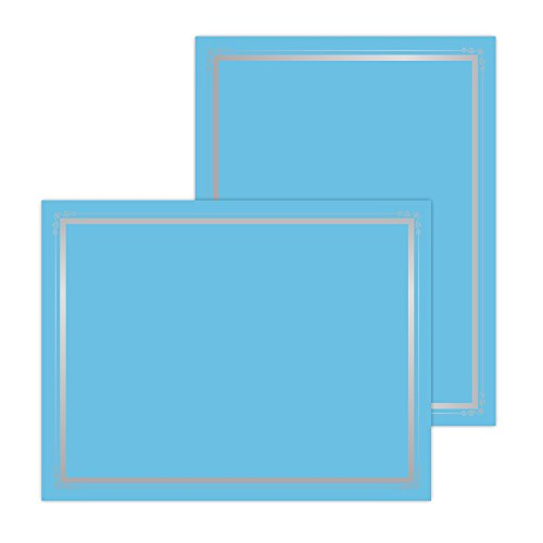 "Astrobrights Foil Enhanced Certificates, 8.5"" x 11"", 65 lb/176 GSM, Lunar Blue, Frame Design, Cardstock, 25 Count (91101)"
