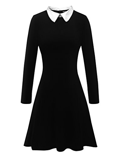 (Aphratti Women's Long Sleeve Casual Peter Pan Collar Flare Dress Black)