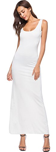 Arctic Cubic Sleeveless Scoop Neck Long Maxi Slim Fit Bodycon Tank Vest Column Dress White L