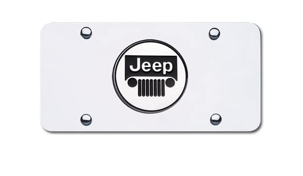 Jeep Cherokee Name Badge On Polished Stainless Steel License Plate