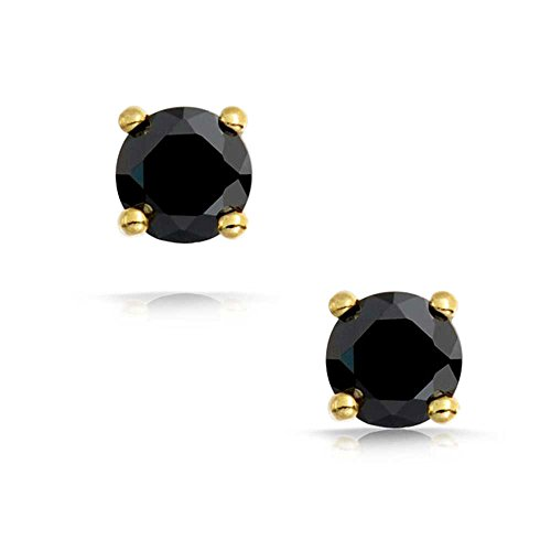 Bling Jewelry Black CZ Round Stud Earrings 925 Sterling Silver Photo #2