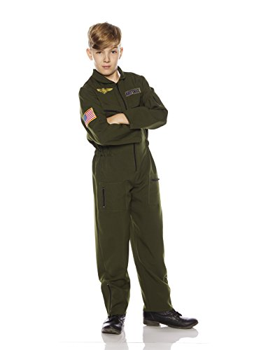 Underwraps Kid's Children's Air Force Flight Suit Costume - Khaki Childrens Costume, Green, Small ()