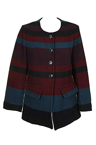Marc Jacobs Marc Red Multi Colorblocked Collarless Coat L
