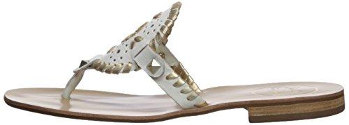 Jack Rogers Women's Georgica Flat Sandal, White/Gold, 9 Medium US by Jack Rogers (Image #5)