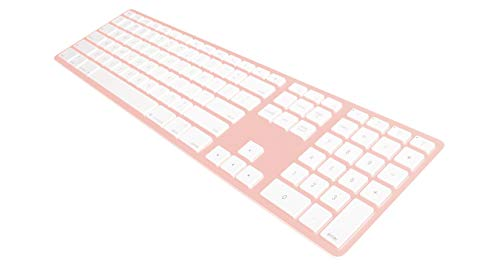 Matias FK418BTRG Bluetooth Wireless Aluminum Keyboard with Numeric Keypad and 4-Device Sync - Compatible with Mac, iPhone, iPad, Android and Windows PC (Rose Gold)