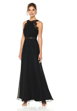 Designer Prom Gowns (The Cambridge Collection Women's Halter Neckline With Transparent Lace Waistline Chiffon Dress 4 Black)