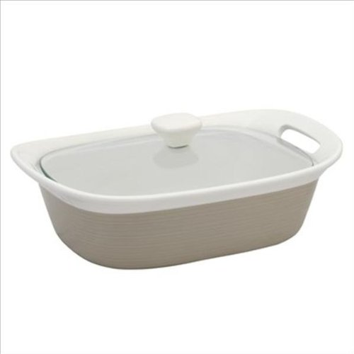 Corningware Etch Sand 2.5-qt Oblong Baker w/ Glass Lid