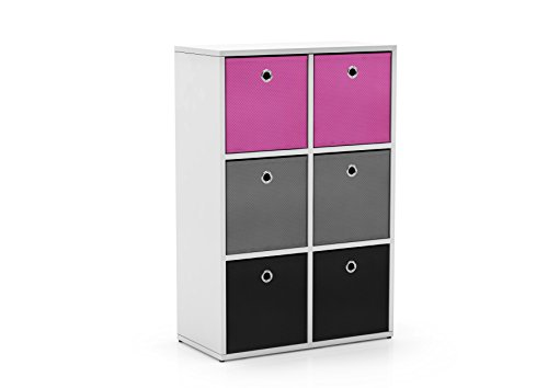 Target Marketing Systems Utility Collection Contemporary Bin Bookcase with Six Storage Bins, Designed for Girls' Bedroom, Pink/Gray/Black/White