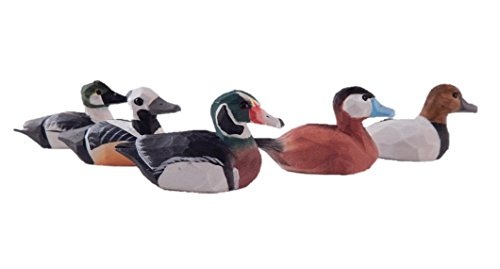 Home Made Assorted Hand-Painted Miniature Wooden Duck Decoy Carved Bird Ornament Male Figurine Small Animals ()