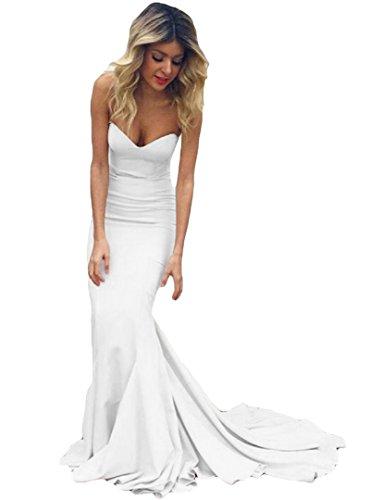 Long Dress Dreagel 2018 Mermaid White Strapless Dresses Women's Evening Formal Prom wBF6qXB4