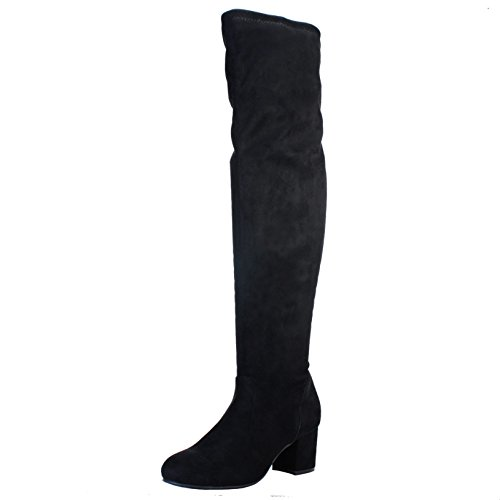 Bamboo Womens Block Heel Over The Knee Stretch Boot Black Stretch Faux Suede 77pJXX