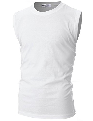 rew Neck Sleeveless T-Shirt with Multicoloured /DCT139-WHITE-L ()