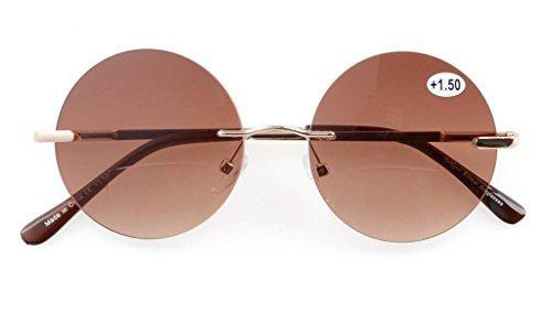 Eyekepper lunettes bifocales lunettes de soleil caoutchouc peint(Gris, +1.00) Marron-16003