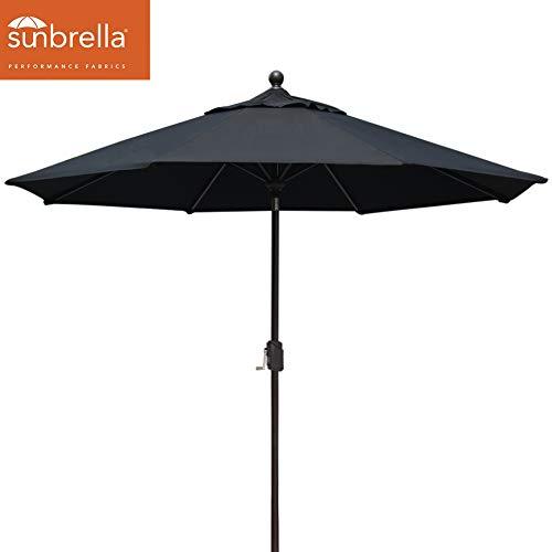 EliteShade Sunbrella 9Ft Market Umbrella Patio Outdoor Table Umbrella with Ventilation (Sunbrella Black) ()