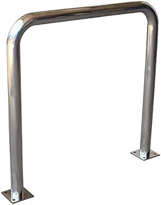 Soporte//aparca bicicleta para calle en acero inoxidable con placa