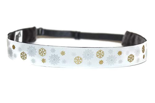 BEACHGIRL Bands Headband Adjustable No-Slip Hair Band For Women & Girls Silver Snowflakes