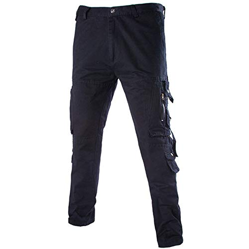 Men's Versatile Overalls Multi-Pocket Zipper Waist Loose Casual Trousers,PASATO Clearance Sale(Black, 32) by PASATO