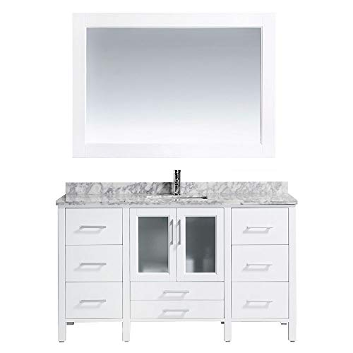 Design Element Stanton Single Drop-in Sink Vanity Set with with White Finish, 60-Inch ()