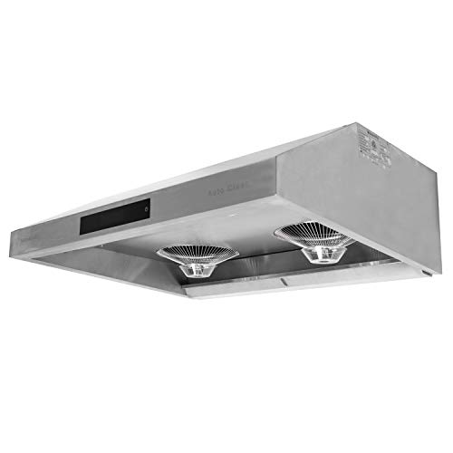 """MONARCHY 30"""" Under Cabinet Kitchen Range Hood with WATER Auto Clean Function – Top Ducted Exhaust Vent in Contemporary Modern Design with 950 CFM, Touch Screen Interface,LED Lamps, Delay Auto ()"""