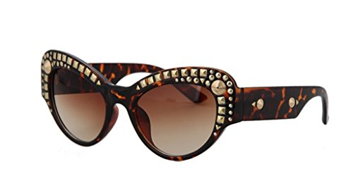 Trendy Cateye Decorative Rivets Sunglasses For - Sun Police Glases