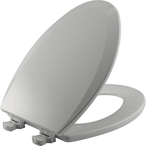 CHURCH 585EC 062 Toilet Seat with Easy Clean & Change Hinge, ELONGATED, Durable Enameled Wood, Ice Grey