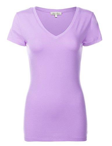 Luna Flower Basic Cotton Slim Short Sleeve Deep V-neck T-Shirt Tops 092-Dark Lavender US S