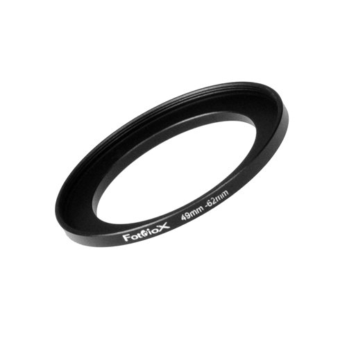 Fotodiox Metal Step Up Ring Filter Adapter, Anodized Black Aluminum 49mm-62mm, 49-62 mm