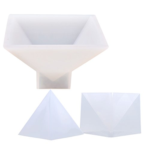 Dovewill 2 Pieces Large Pyramid DIY Silicone Mould Crystal Resin Casting Mold Handcraft Ornaments Home Decoration 95mm/150mm