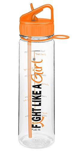 Fight Like a Girl Slimkim II Water Sports Workout Bottle Inspirational Time Marker with Measurement Goals 30 Oz - Orange (Assorted Colors)