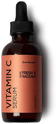 Eve Hansen Vitamin C Serum | (2 oz) Facial Serum with Natural and Organic Hyaluronic Acid, Vitamin E and Aloe Vera | Brighten Skin and Reduce Appearance of Wrinkles, Fine Lines and Dark Spots