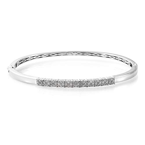 925 Sterling Silver Platinum Plated Round Diamond Cuff Bangle for Women 8