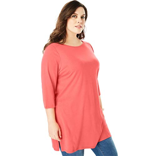 Tunic Boatneck Cotton - Roamans Women's Plus Size Boatneck Ultimate Tunic with Side Slits