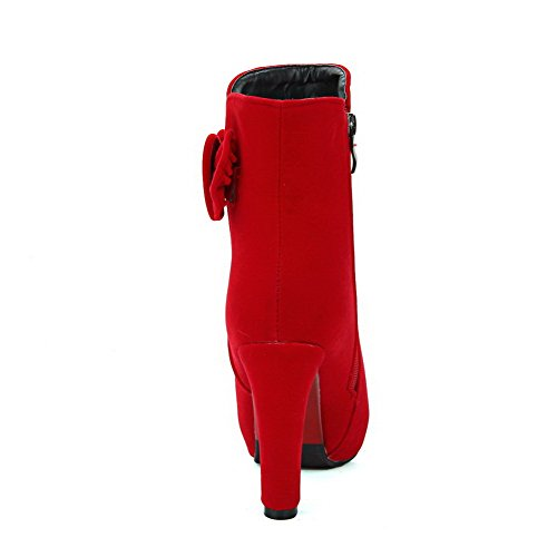Heels Toe Zipper AllhqFashion Womens Solid Imitated Round High Red Boots Suede Closed wwxTOfS