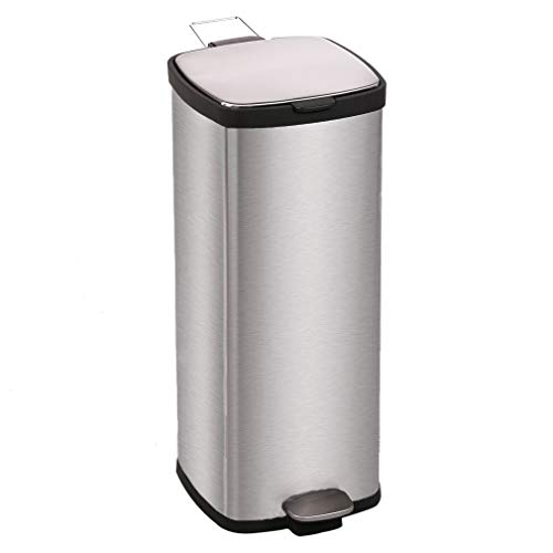 8 Gallon Trash Can - Metal Trash can Step Trash can Stainless Steel Trash can with Removable Inner lid for Home Kitchen Bathroom Office 8 Gallon / 30L