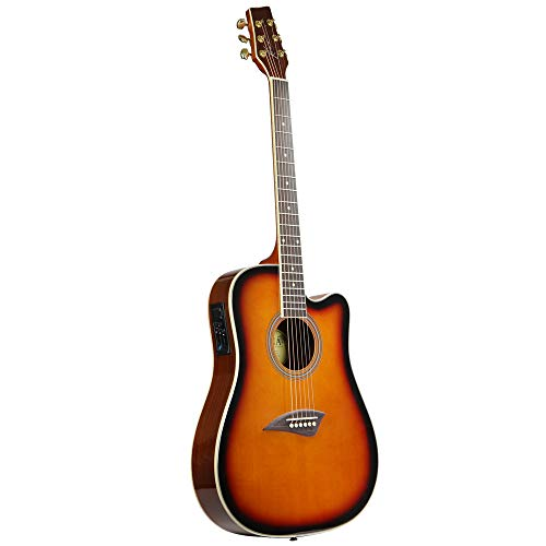 Kona K2SB Acoustic Electric Dreadnought Cutaway Guitar in Tobacco Sunburst - Neck Slim Electric Acoustic Guitar