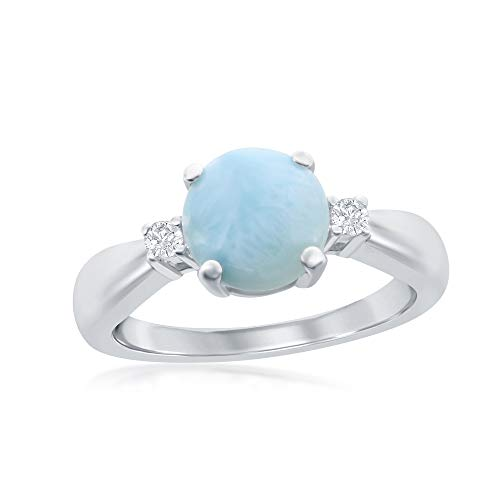 Sterling Silver High Polish Four-Prong Round Larimar with CZ Ring (Size 6)