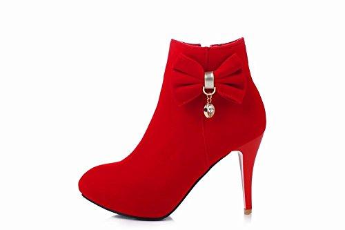 Damestrui Met Strikjes Voor Dames Damesrok Chic Stiletto-hak Enkellaarzen Rood