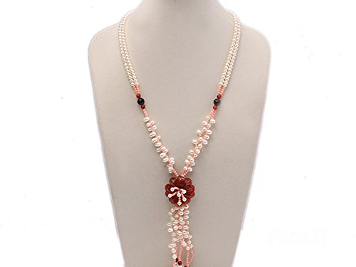 JYX Pearl Double Strand Chunky Neckalce 5mm White Freshwater Pearl with Natural Red Agate and Coral Necklace ()