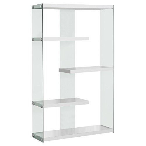 Monarch Specialties I I 3290 Tempered Glass Bookcase, 60